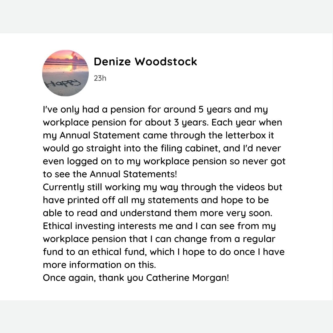 Pensions Testimonial Denize Woodstock